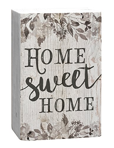 P. GRAHAM DUNN Home Sweet Home Grey Floral White 4 x 5 Inch Solid Pine Wood Barnhouse Block -