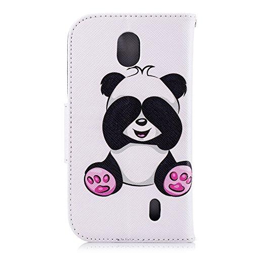 Funda para Nokia 1 , IJIA Pandas Lindo TPU + PU Ranuras para Tarjetas de Crédito Flip Folio Caja [Estilo Libro,Soporte Plegable ] Cover Tapa Caso Parachoques Carcasa Cubierta para Nokia 1 (4.5) (BF36