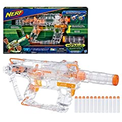 Stay in stealth mode or light the way with the Nerf Modulus Ghost Ops Evader blaster! This motorized blaster features a clear housing that lights up with a green glow when you press the light activator button. Keep the blaster in clear mode d...