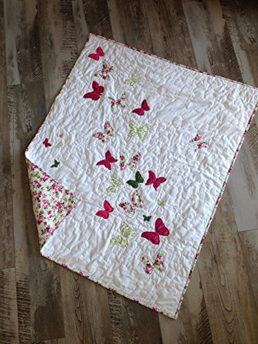 Made in USA, Ready to ship, Handmade butterfly baby quilt gift, Pink green white by Createdbymammy