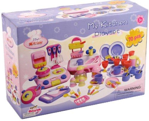 Riesen Kinder Geschirr Set Spielküche Herd Kaffeeservice Spüle Töpfe  Pfannen Uvm 70 Tlg: Amazon.de: Spielzeug