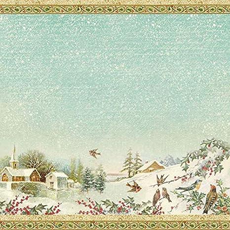 #DFT287 Stamperia Rice Paper Napkin SNOWY LANDSCAPES 19.5x19.6 Decoupage