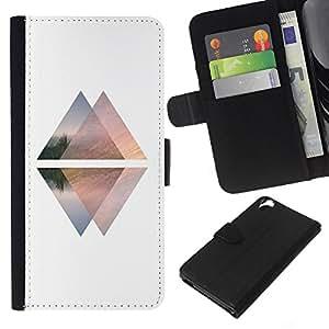 KLONGSHOP // Tirón de la caja Cartera de cuero con ranuras para tarjetas - Pirámide Blanca Negro Arriba Abajo Ascensor - HTC Desire 820 //