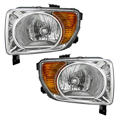 Driver and Passenger Halogen Combination Headlights with Chrome Bezels Replacement for 2003-2008 Honda Element 33151SCVA01 33101SCVA01 (Honda Element Headlight Headlamp)