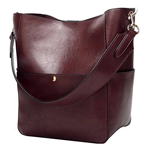 Molodo Womens Satchel Hobo Stylish Top Handle Tote PU Leather Handbag Shoulder Purse (Coffee)
