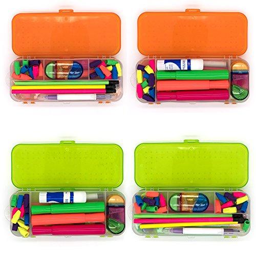 Emraw Double Deck Organizer Box - Bright Color School Pencils Box Stationery Box Pen Holder Box Organizer, School Supplies Pencil Box for Students Pencil Case Pencil Box (6-Pack) by Emraw (Image #3)