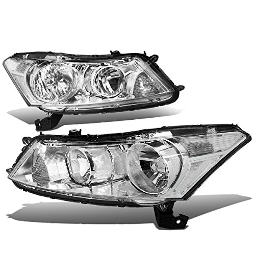 For Honda Accord 8th Gen Sedan Pair of OE Style Chrome Housing Clear Corner Headlight