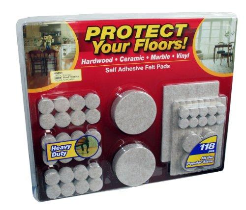 [Floor-Care 118-Piece Self Adhesive Heavy Duty Felt Pads Kit] (76 Piece Hardwood Unit)