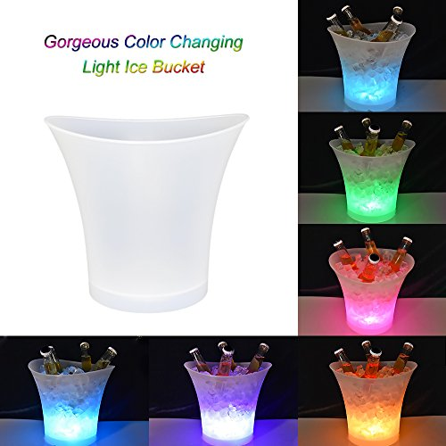 LED Ice Bucket 5L High Capacity Automatic 6 Colors Changing Champagne Wine Drinks Beer Ice Cooler Curve Design, Battery Powered,IP65 Water Resistance for Bar Club Theme Restaurant Pub Beer Juice