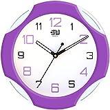 Estilo Plastic Analog Wall Clock (26 cm x 26 cm x 5 cm, Purple, ES9732PURPLE)