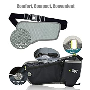 Fitters Niche Hydration Running Belt Waist Pack, Adjustable Elastic Band, Water Bottle Holster Carrier Fit 10-30oz/300-700ml, Fits max. 6 inch Phones, Black