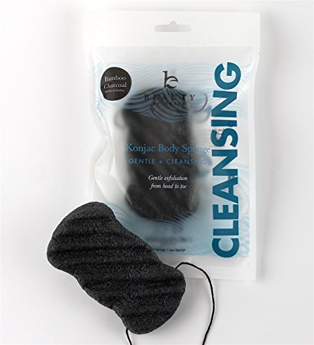 Konjac Body Sponge, Bamboo Charcoal Natural Bath Loofah with String for Cleansing and Exfoliating Sensitive Skin, Vegan, Gentle Puff Sponges, Pouf Alternate to Exfoliate and Cleanse for Men and Women
