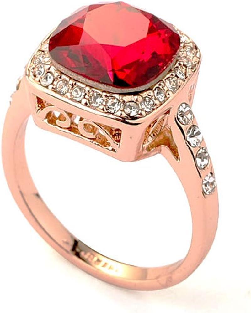 Plaza Rubí Crystal made with Swarovski Elements 18k anillo de oro color de rosa plateado rodeado con Zircon cúbico