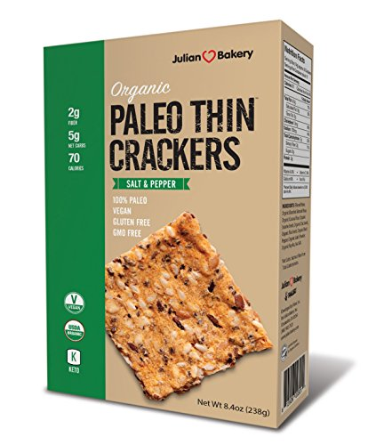 USDA Organic Paleo Thin Crackers (Low Carb -Gluten Free) Net Wt 8.5 Oz (241g)