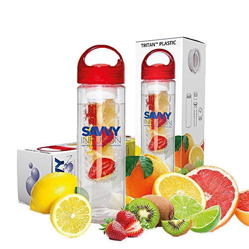 Savvy Infusion Water Bottle 24 or 32 Ounce Featuring Unique Leak Proof Silicone Sealed Cap w/ Handle Includes Bonus Recipe Ebook