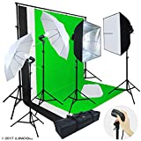 Linco Lincostore Photo Video Studio Light Kit AM142 - Including 3 Color 5x10ft Backdrops (Black/Whtie/Green) Background Screen