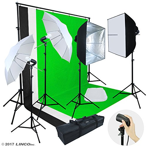 Linco Lincostore Photo Video Studio Light Kit AM142 – Including 3 Color 5x10ft Backdrops (Black/Whtie/Green) Background Screen