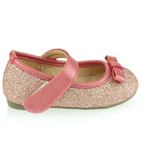 Mädchen Kinder Glänzend Obere Blume Detail Klettverschluss Ballett Pumps Sandalen Schuh Größe Rosa
