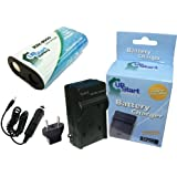 Kodak EasyShare Z612 Battery and Charger with Car Plug and EU Adapter - Replacement for Kodak KLIC-8000 Digital Camera Batteries and Chargers (2000mAh, 3.7V, Lithium-Ion)