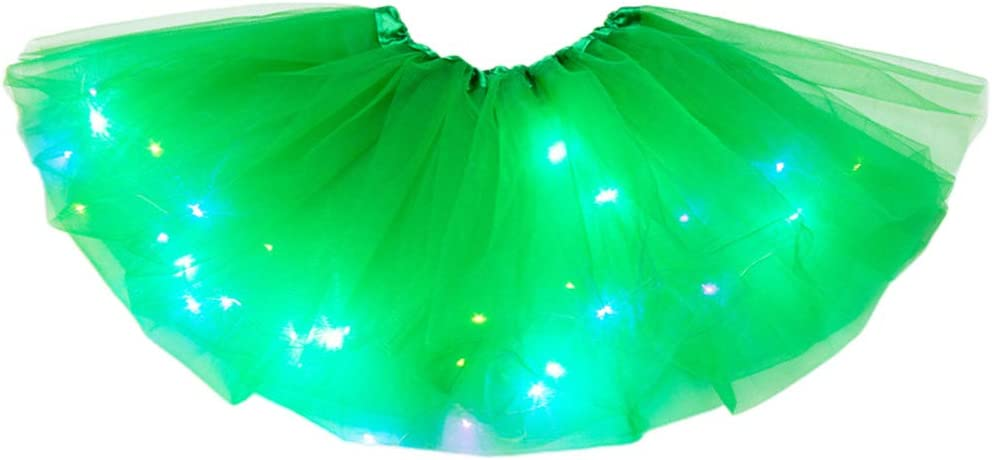 luce magica principessa LED LHDDWY Gonna tut/ù per bambine luminosa per feste di Natale luccicanti tut/ù per ragazza Nero