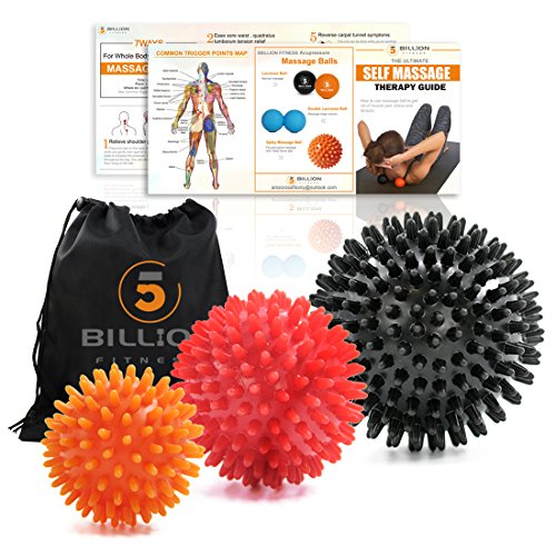 5BILLION Spiky Massage Balls Lacrosse Balls Stress Balls – Stress Reflexology for Myofascial Launch, Muscle Chill out, Physical Therapy Set of 3 – DiZiSports Store