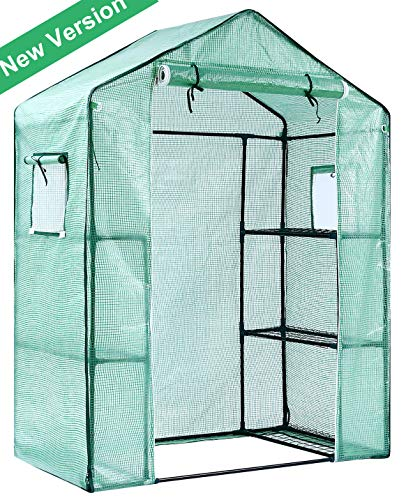Ohuhu Greenhouse for Outdoors with Observation Windows, (2019 New Version) Small Walk-in 3 Tiers 6 Shelves Stands Plant Green House for Seedling, Flowers, Plant Growing, 4.7 x 2.4 x 6.4 FT