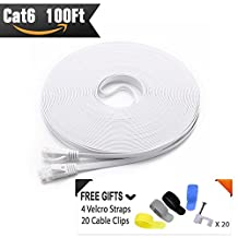 Cat 6 Ethernet Cable 100ft White (At a Cat5e Price but Higher Bandwidth) Flat Internet Network Cables - Cat6 Ethernet Patch Cable - Cat6 Computer Lan Cable With Snagless RJ45 Connectors