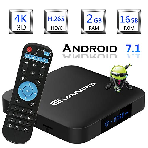 EVANPO Android 7.1 Smart TV Box Quad Core CPU 2GB 16GB with 3D/4K/2.4GHz WiFi/H.265 Google TV Box Android TV Player Media Box
