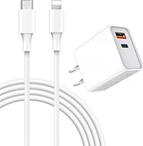 iPhone 12 Charger【Apple MFi Certified】 18W Dual-Port Wall Charger Plug with 3FT Cable, PD with QC 3.0 Fast Wall Charger, Type USB C Charger for iPhone 12/ Mini/Pro Max/11/11 Pro Max/Galaxy/Pixel