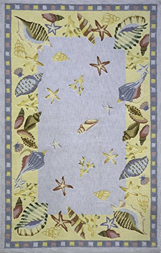Momeni Rugs COASTCC-04LBL2680 Coastal Collection, 100% Cotton Hand Hooked Transitional Area Rug, 2'6