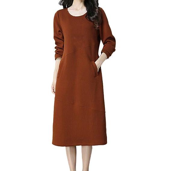Faldas para Mujer, BBestseller Mujer Casual Cuello Redondo Manga Larga Bolsillo Playa Verano Estidos Largos Vestir Dress Maxi Vestido Vestir: Amazon.es: ...