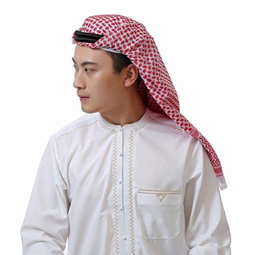 KEEN ZTQ Classic Middle Eastern Pattern Arabic Head Cover Turban for Men Men's Muslim Headscarf (RED)