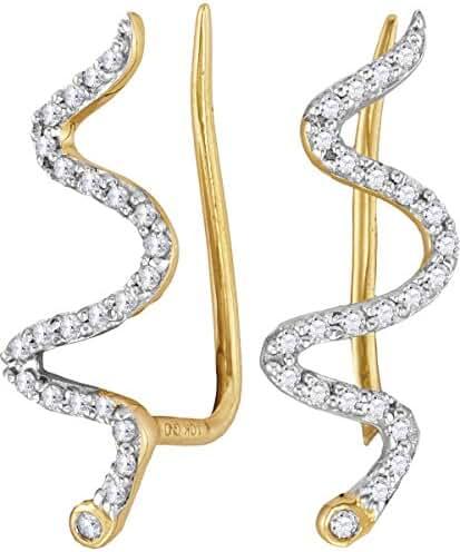 10kt Yellow Gold Womens Round Diamond Snake Climber Earrings 1/6 Cttw
