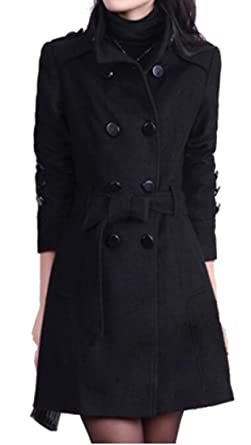 5baaf56df71 Oberora-Women Winter Trench Jacket Double-Breasted Wool Blend Pea Coat with  Belt Black