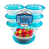 Round 1 Compartment Meal Prep Food Storage Containers - Blue Airtight Lids - [7-Pack] 32 oz - Reusable BPA Free Stackable Plastic Lunch Box Tupperware Bowls | Microwave Safe Healthy Weightloss Set