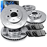 Front and Rear eLine Plain Brake Rotors & Ceramic Brake Pads Conquest,Starion