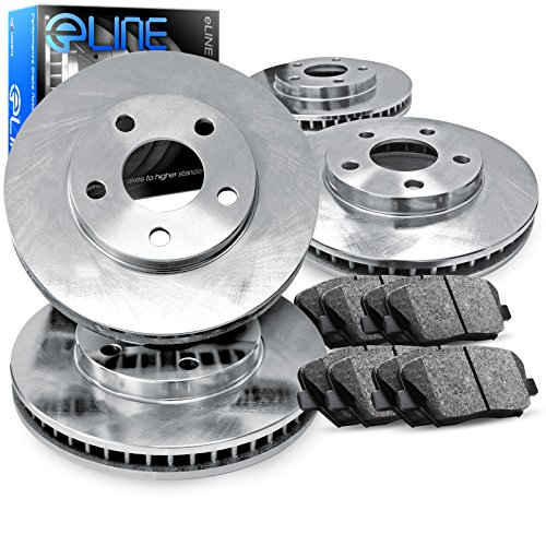 For 1997-2004 Mitsubishi Diamante Front Rear Plain Brake Rotors+Semi-Met Pads