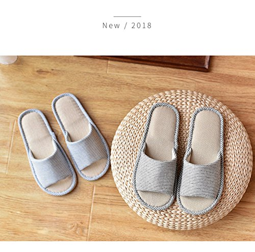 LYMMC House Slippers,Women's and Men's Cotton Causal Soft Slippers Anti-Slip for Indoor and Outdoor (Blue) by LYMMC (Image #7)