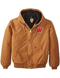 NCAA Wisconsin Badgers Men's Quilted Flannel Lined Sandstone Active Jacket
