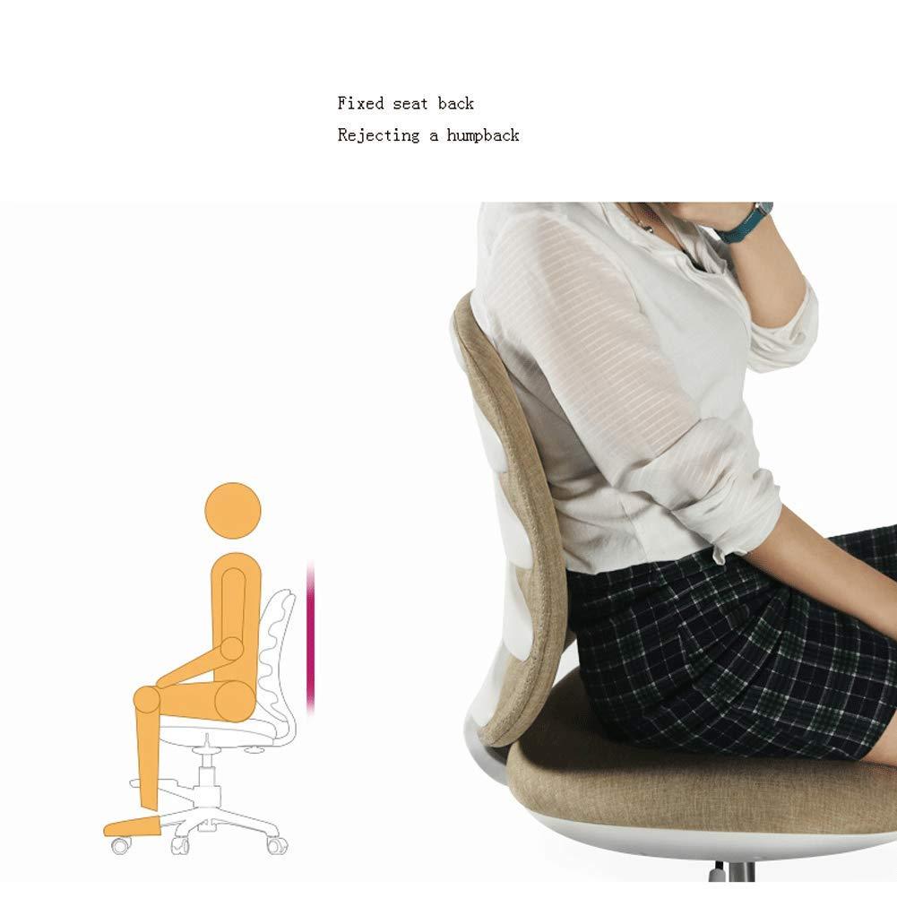 Roterande kontorsstol, ergonomisk stol, bekväm säte, justerbar höjd, andningsbar tjock pad-Lightkhaki röd