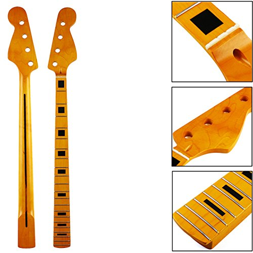 ACDOS 21 Frets Maple Wood 4 Strings Bass Electric Guitar JB Neck For Jazz Style Bass Replacement - Copper Square Rod