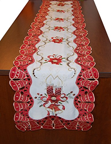 EcoSol Designs Embroidered Christmas Bells (16x70, Red White Gold) Table Runner