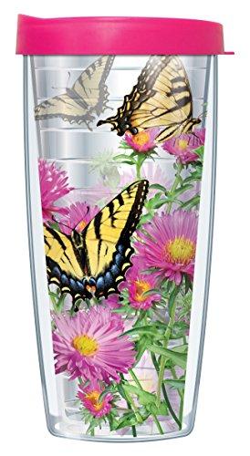 Travel 16 Oz Signature Mug - Tiger Swallowtail Butterflies Clear Wrap Traveler 16 Oz Tumbler Mug with Lid