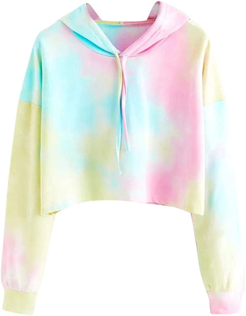 Sudaderas con Capucha Cortas Mujer Tumblr Rainbow Estampado Camiseta de Manga Larga para Adolescentes Chicas