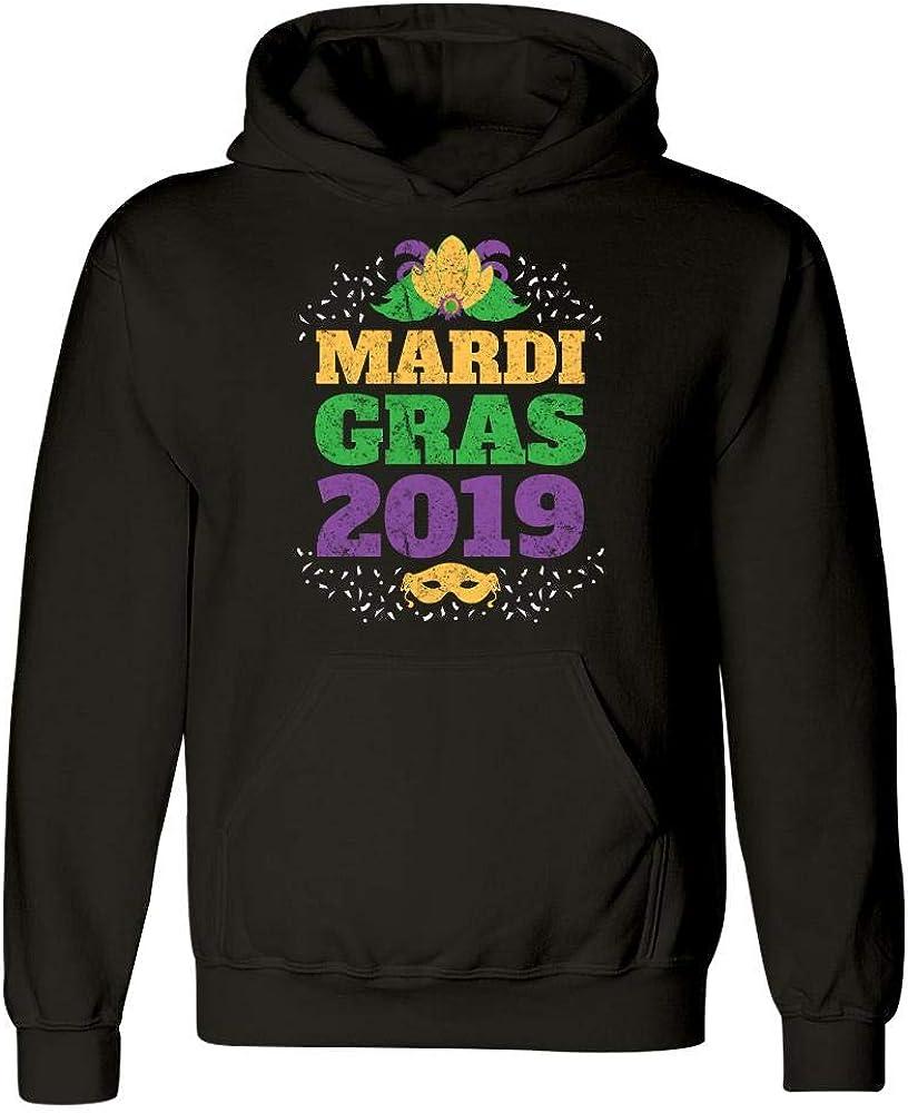 Hoodie Vintage Distressed Mardi Gras 2019 Colorful