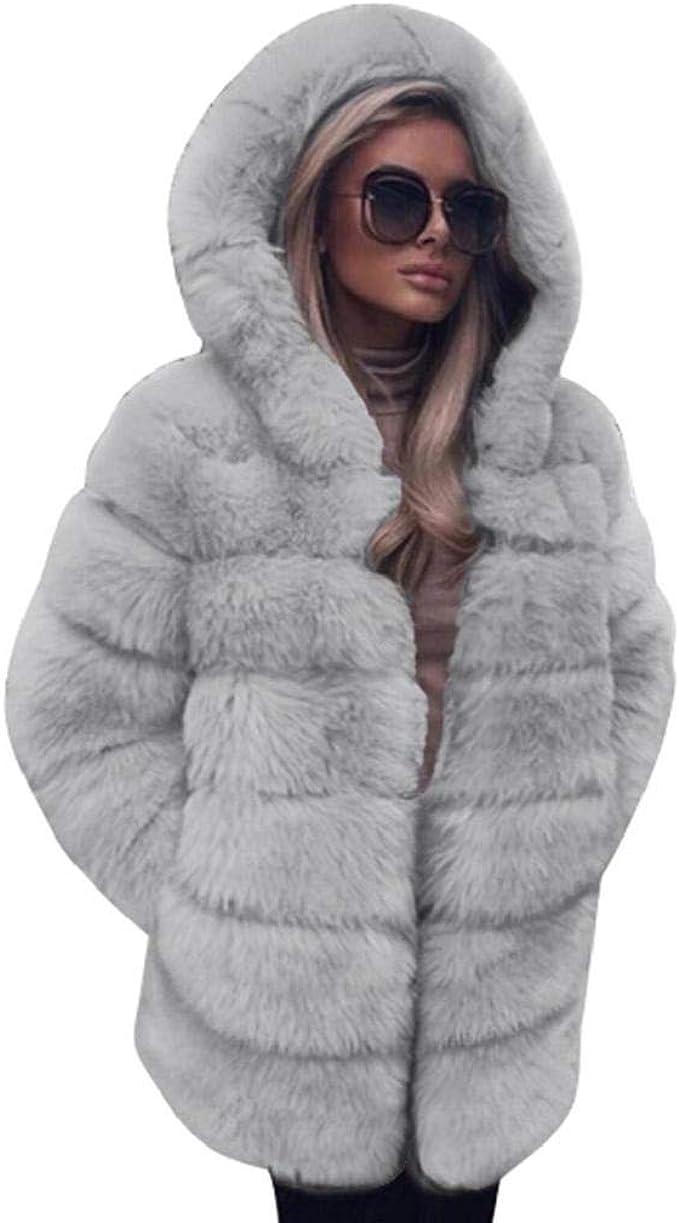 VICGREY ❤ Cappotto Donna Eleganti Giacca Scialle Pelliccia Sintetica Donna Casuale Scialle Elegante Caldo Cappotto Invernale Moda Parka Cappotto Outwear
