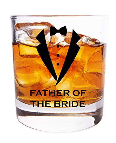 Father of the Bride Gifts For Wedding Day - 11 OZ Rocks Whiskey Glass With Black Tuxedo Print - Engagement Party Favors - Bourbon Scotch Glasses ()