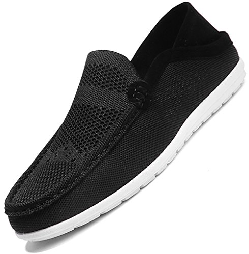 Mocassini Da Uomo Waltzon Casual Traspirante Tessuto A Coste Slip On Driving Mocassino Scarpe Black03