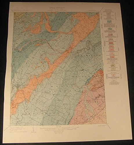 Gettysburg Midway Hunterstown Butler Pennsylvania 1929 vintage color Geology map