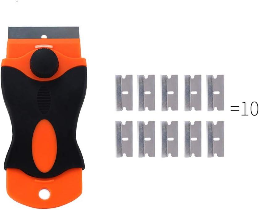 Rascador de cuchillas de afeitar para placas de cer/ámica multiusos con 10 cuchillas de 4 cm herramienta de limpieza para quitar etiquetas de residuos de pegamento IKAAR